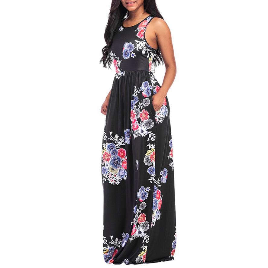 18a995b7f00 2018 новый сексуальный Для женщин Цветочный принт с круглым вырезом без  рукавов длинное повседневное пляжное платье 05