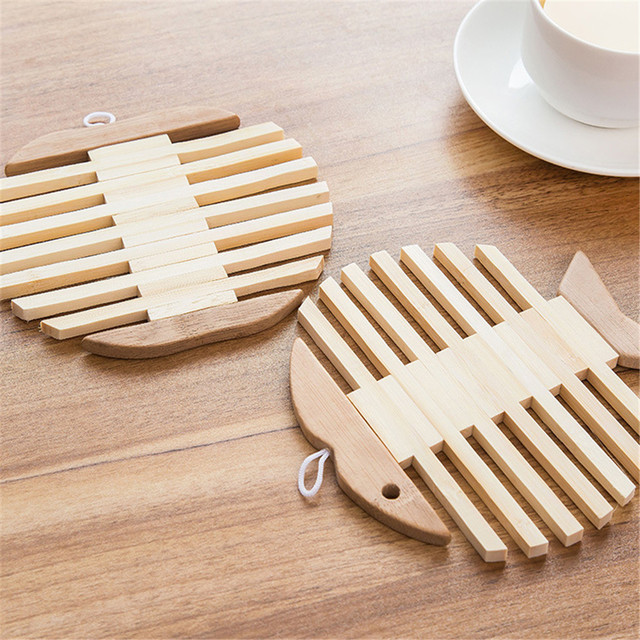 Wooden Le Fish Dining Table Placemats Pot Cup Mat Heat Insulation Kitchen Accessories Decoration Home 15 5 Cm