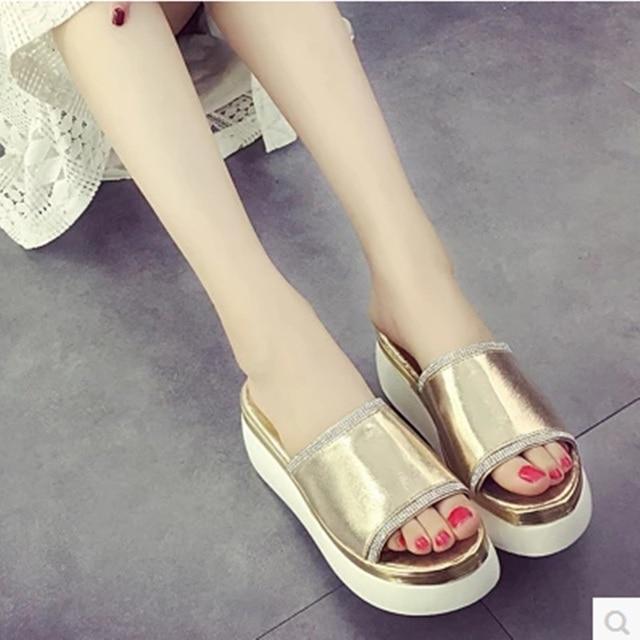 Lady Platform Cheap 34-39 Trifle Spongy Tender Insole Wedges Med Heels Sandalias Women Pumps School Girls Summer Shoes Slid-On