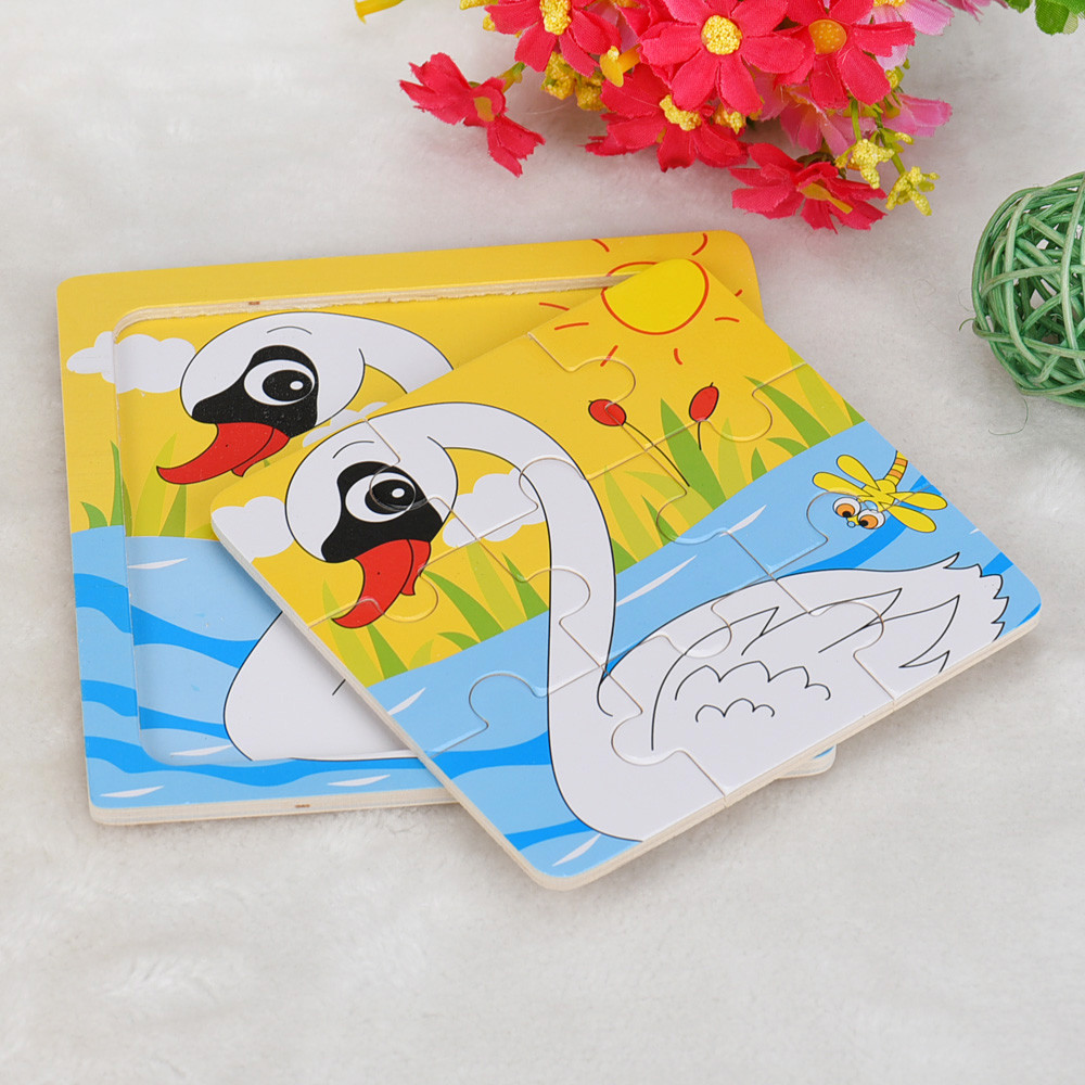 HIINST kids toys 2017 Funny Childrens hand grasping puzzle board cartoon wood three-dimensional puzzle toy of swan*R Drop