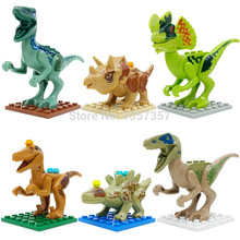 6 pçs/lote SL8916 Jurassic Dinossauro Figura Dos Desenhos Animados do Filme Jurrassic Building Blocks Define Modelo Brinquedos Educativos para crianças