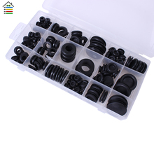 Free Shipping 125pcs/Set 18 Sizes Black Flexible Rubber Grommet Gasket O Ring Kit Nipples Hardware Assortment with Case