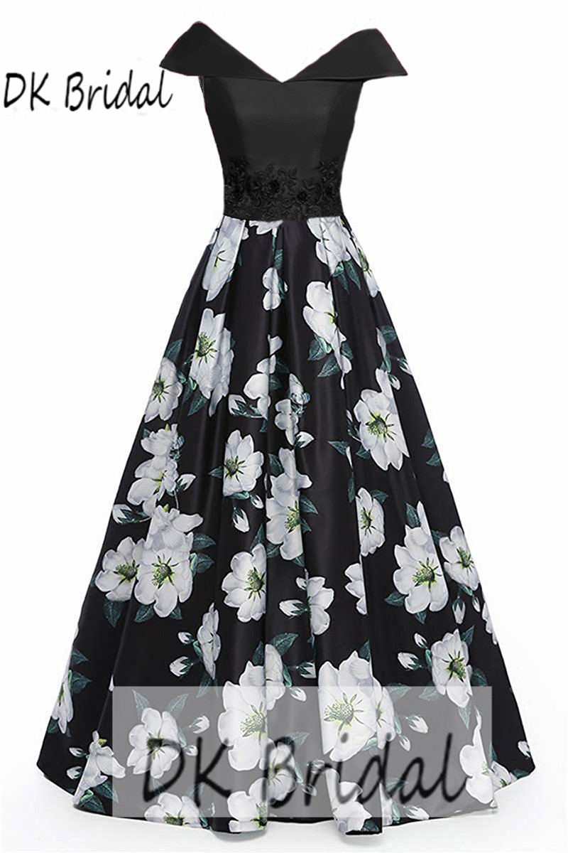 DK mariée hors De l'épaule mère De la robe De mariée 3D Floral imprimer robes formelles robe De bal longue robe De Festa DK1806