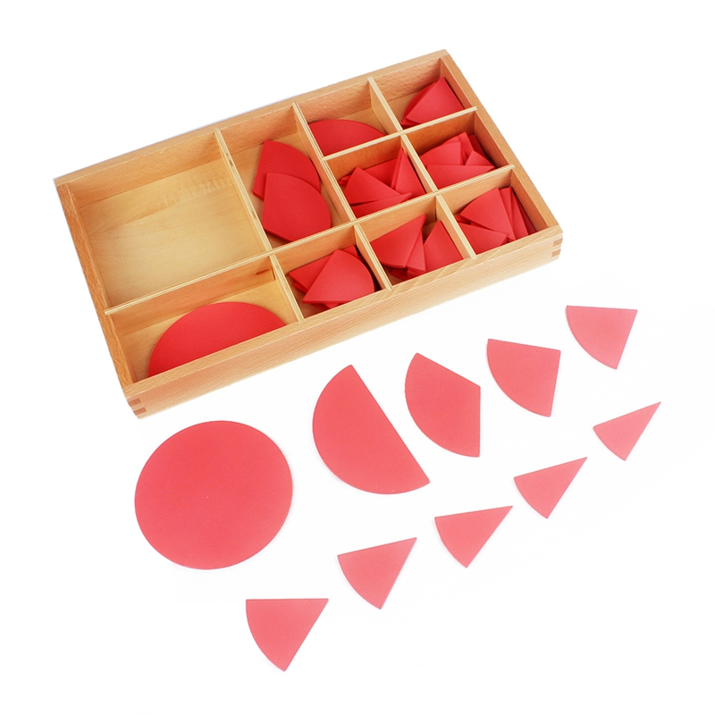 Baby Toy Montessori Cut Out Labeled Fraction Circles 1 10 Teaching Aids Wood Board Education Preschool Kids Brinquedos Juguete