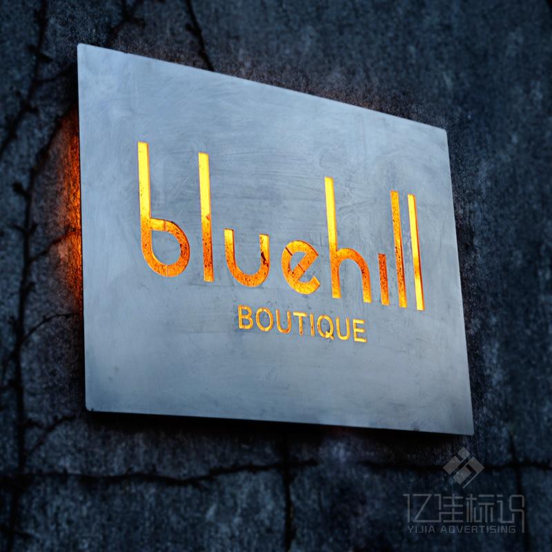 Billbord Outdoor Outlet Sign Stainless Steel Backlit LED Light Signboard Store Bar Hotel Customized Design Advertisement Board