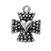 Dawapara 20pcs antique silver plated religious Maltese cross charms