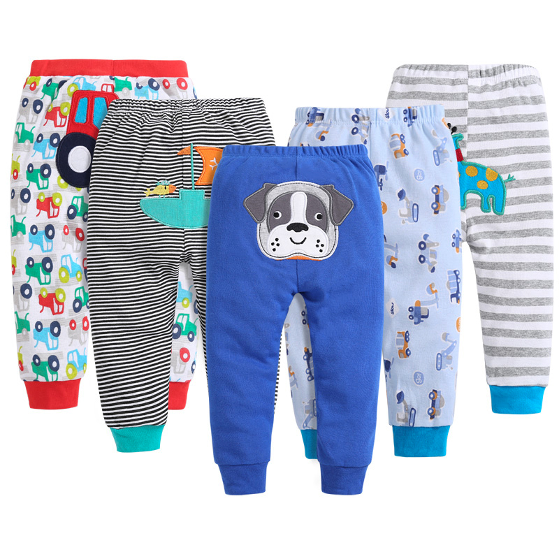 5pcs Baby Gril Pants Embroidered Animals Baby Pants 100% Cotton Infant Trousers Children's Pants Baby Clothing Sets PT002701572 contrast stitching embroidered pants