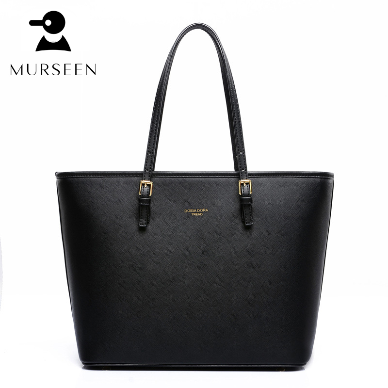 High Quality Leather Women tote Bag Shoulder Bags large Solid Big Handbag Large Capacity Top-handle Bags Herald Fashion Black GS