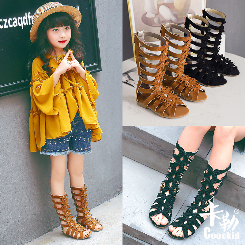 New Fashion Girls Summer Roman Gladiator Bandage Knee High Flat Sandalias Botas Kids Girls Summer Hollow Ankle Boot Children