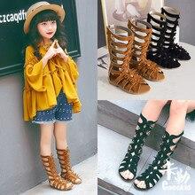 New Fashion Girls Summer Roman Gladiator Bandage Knee High flat sandalias botas Kids hollow Ankle Boot Children