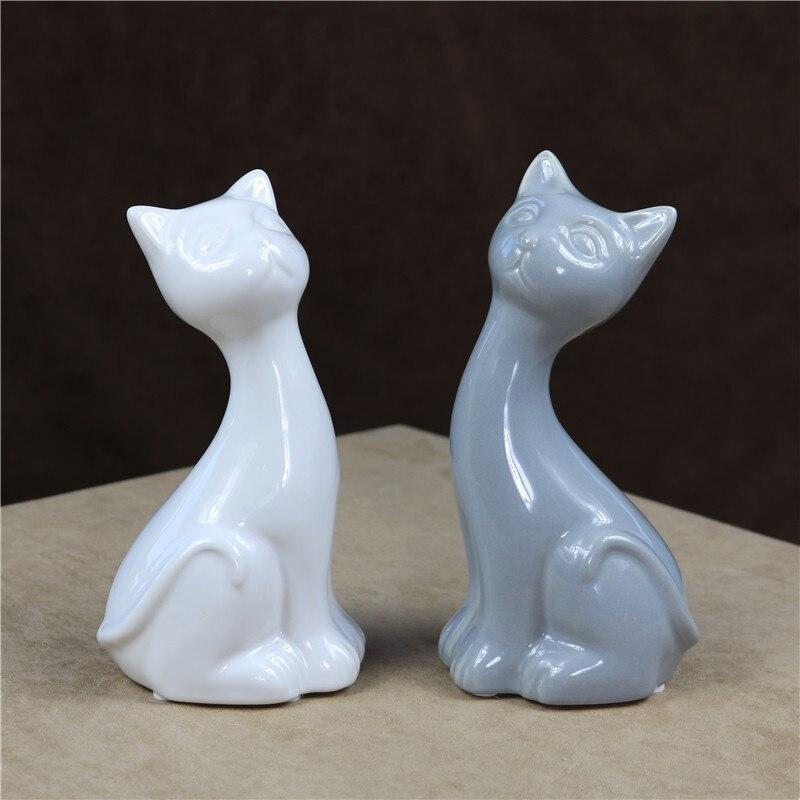 Us 1482 22 Offstreszczenie Porcelany Kotów Para Statua Ceramiczne Kitty Figurka Miłośników Domowych Dekoracji Dar I Rzemiosła Ozdoby Akcesoria W