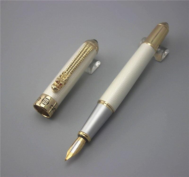 Jinhao 1000 luksuznih olovnih visokokvalitetnih olovki bijelo i zlatno sa metalnom kemijskom olovkom za zmajeve