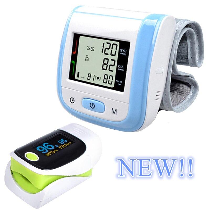 New! Blue LCD Digital Wrist Blood Pressure Monitor Tonometer+OLED Display Fingertip Pulse Green Oximeter Oximetro Pulsioximetro