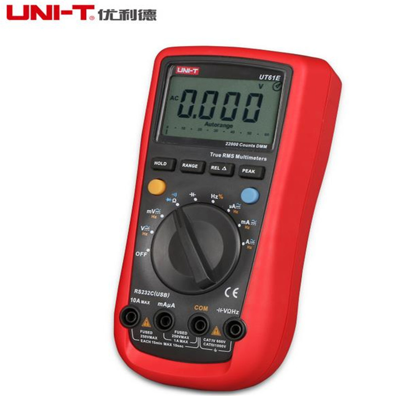 UNI-T UT61E Digital Multimeter auto range true RMS Peak value RS232 REL AC/DC amperemeter uni t UT 61E multimeter uni t ut61e digital multimeter auto range true rms peak value rs232 rel ac dc amperemeter uni t ut 61e multimeter