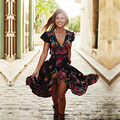 2017 Мода Цветочный Лето Чешские Dress Женщины Этническая Хиппи Винтаж Boho Dress Нерегулярные Длинные Платья Партии Vestidos Сарафан
