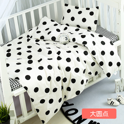 Good Quality Cotton Baby Linen Baby Crib Set Crib Bedding Set For Both Girl and Boy Black Dots ,Duvet/Sheet/Pillow, with fillingGood Quality Cotton Baby Linen Baby Crib Set Crib Bedding Set For Both Girl and Boy Black Dots ,Duvet/Sheet/Pillow, with filling