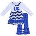 Novo design meninas cair roupas de inverno bordado uk chevron dress polka dots ruffle calças boutique outfits crianças roupas f062