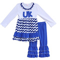 Nuevo diseño de las niñas caen ropa de invierno uk bordado chevron dress polka dots ruffle pantalones boutique de trajes de los niños arropa f062
