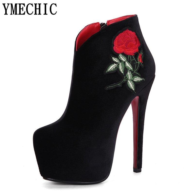 ae5270c43 Ymechic модные красные, черные пикантные ботильоны супер высокая платформа  Сапоги и ботинки для девочек женские extreme Вечерние свадебные туфли на  высоком ...