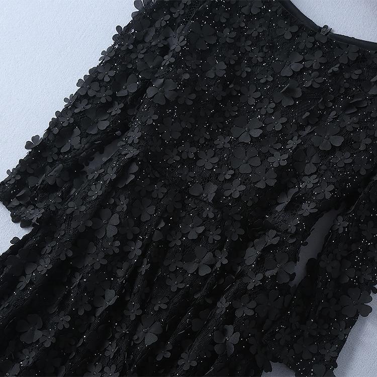 Fleur Mode Européenne Robe Noir Gamme Nouvelle Stéréoscopique Chart Long De Station Et 2018 Corps See Haut Défilé D9WI2HYE