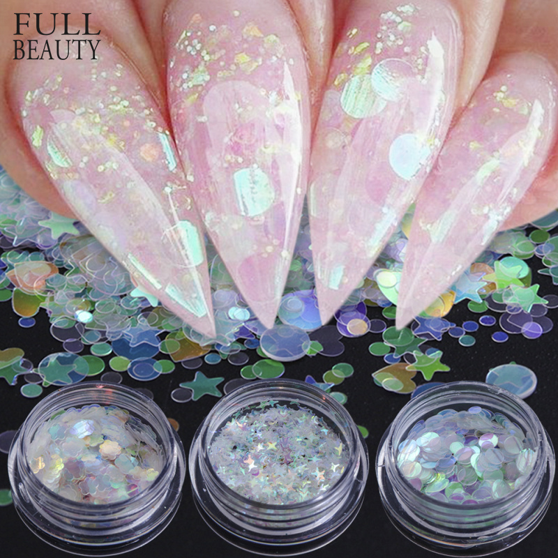 Full Beauty Nail Art Glitter AB Chameleon Color Sequins Flakes UV Gel Polish Star Heart Flower Paillette Decorations CHAB01-15-1