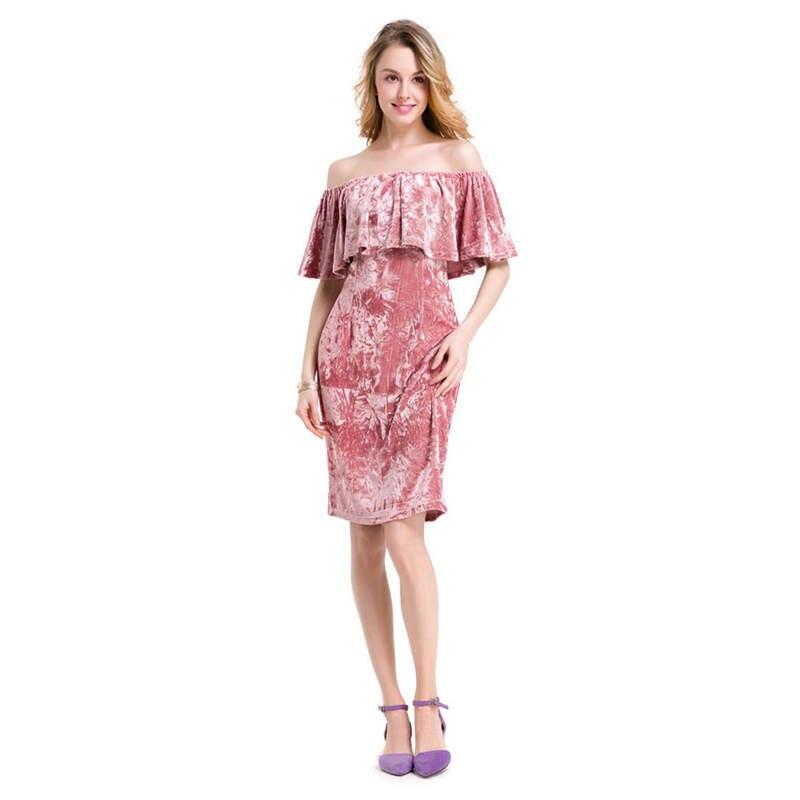 Las mujeres Mariposa Hombro Velvet Dresss Midi Midi Vestido Del Club ...