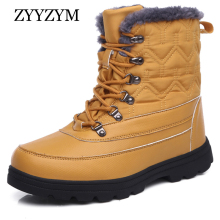 ZYYZYM Mens Boots Winter Leather Boot Unisex Super Warming Plush Snow Men High-Top Outdoors Zapatos De Hombre