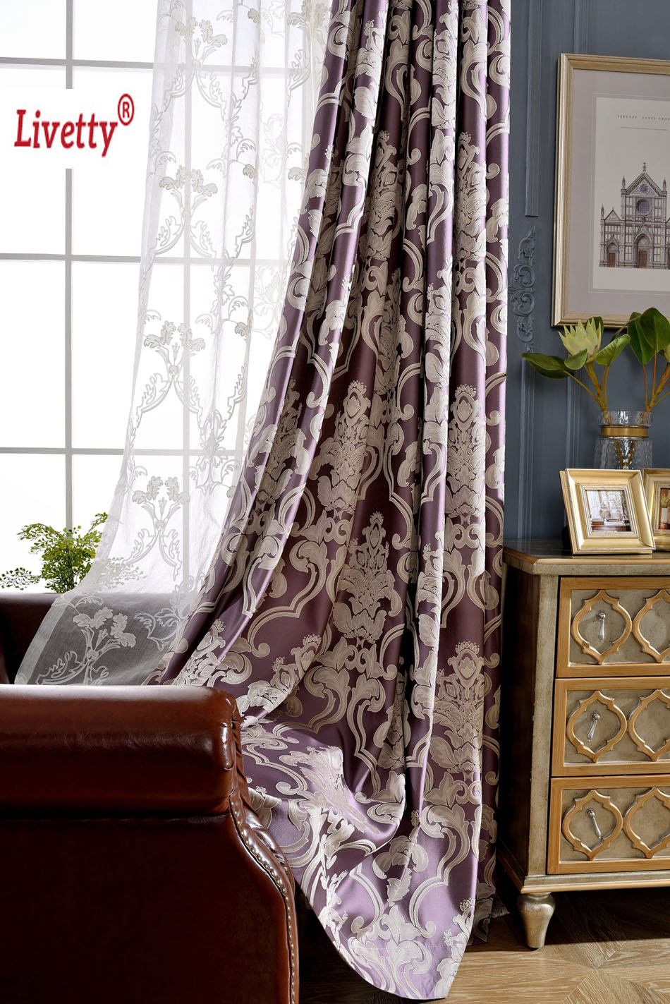 Blackout curtains for bedroom - 2016 New Luxury Blackout Curtains Drapes For Living Room Bedroom Purple Jacquard Blinds Fabric European Window