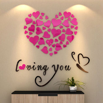 Modern DIY Acrylic Wall Stickers 3D Mirror Love Heart Home Decor Quote Flower Crystal Wall Stickers Decal Home Art Decor 10