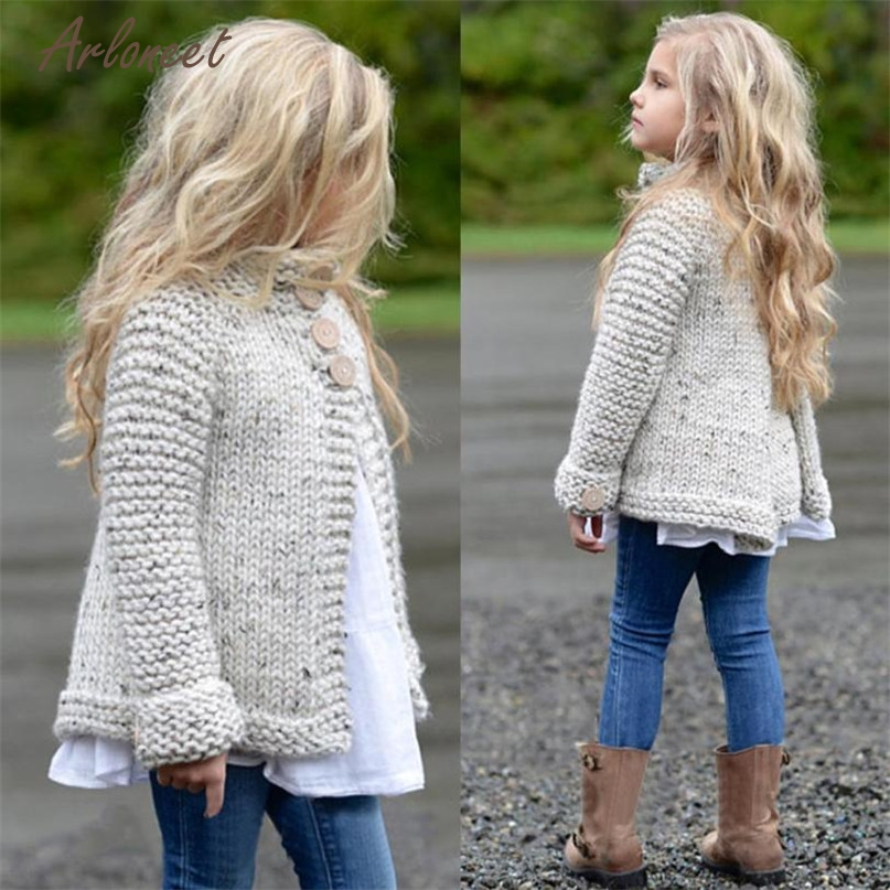 Girls button knitted sweater
