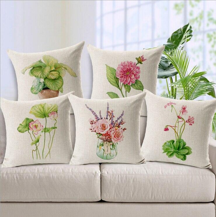 Flores frescas cojín almofadas planta de maceta verde euro