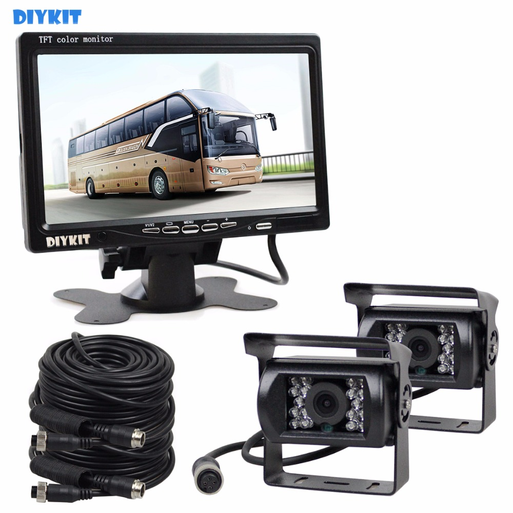 DIYKIT 2 x 4pin Night Vision CCD Rear View Camera Kit + DC 12V - 24V 7 inch TFT LCD Monitor System for Bus Houseboat Truck diysecur 4pin dc12v 24v 7 inch 4 split quad lcd screen display rear view video security monitor for car truck bus cctv camera