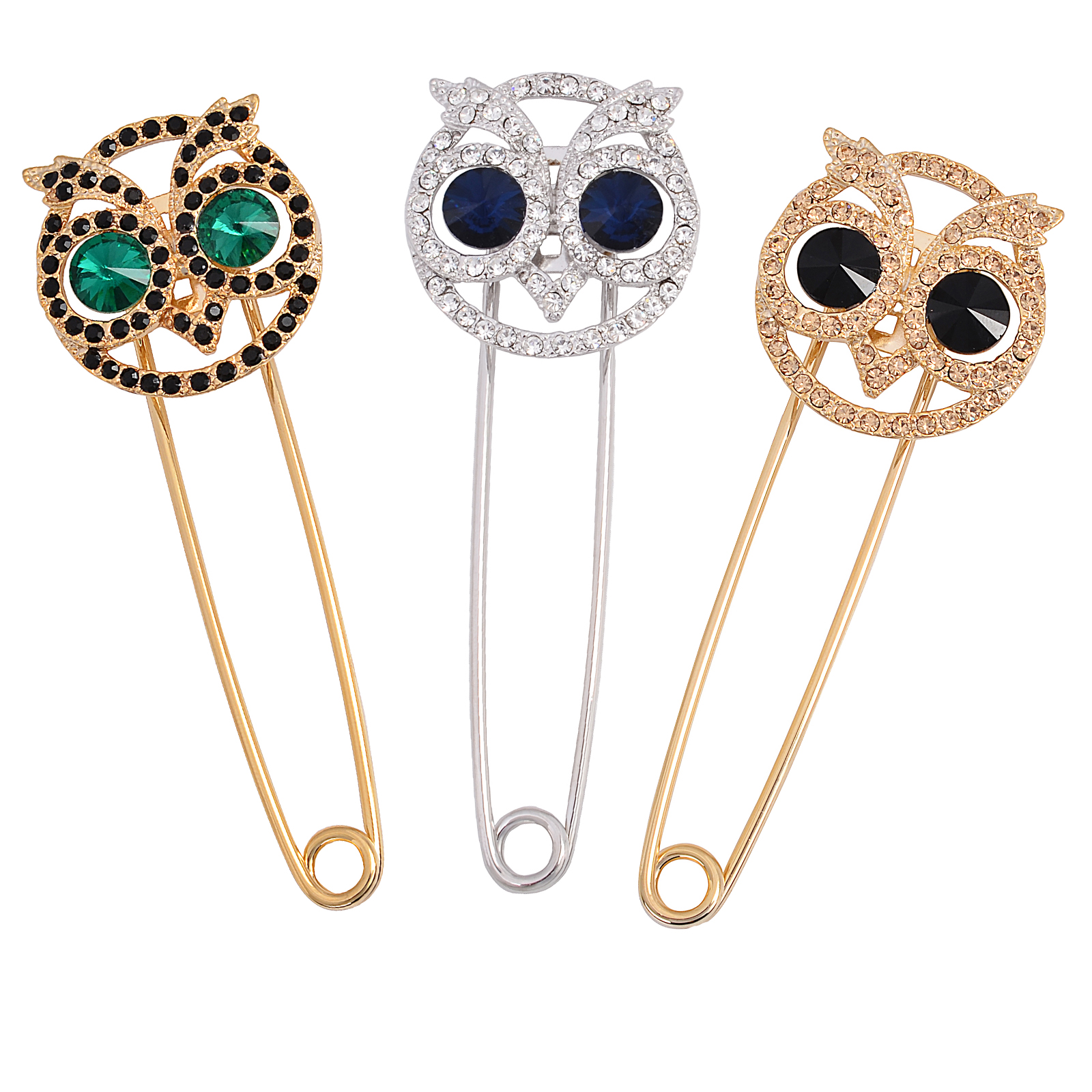 ICEYY 3 Vintage CZ Rhinestone Crystal Owl Extra Large Stainless Steel Safety Pins Brooches Tie Cardigan Sweater Scarf Brooch