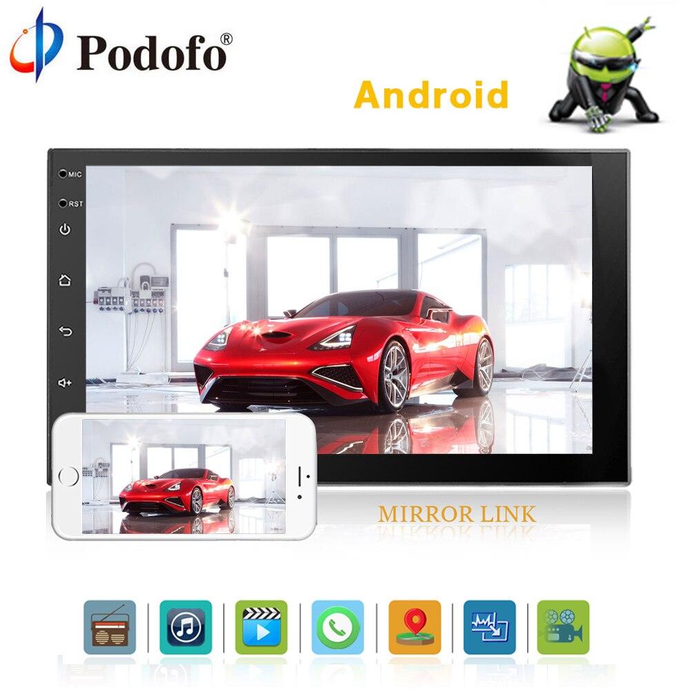 Podofo 2 Дин радио Android 7 HD Автомобильный мультимедийный плеер 2 din стерео Универсальный gps MP5 Bluetooth USB 2din Авторадио DAB +