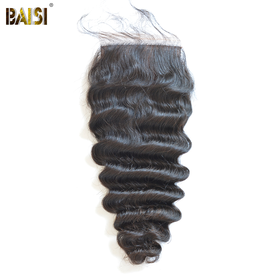 BAISI Brazilian Natural Wave Virgin Hair Silk Base Closure 4x4 Free Part Middle Part Three Part