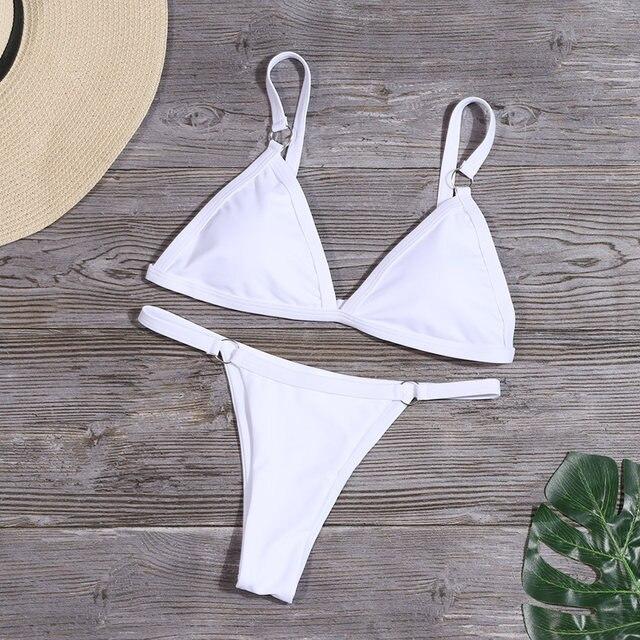 Women Sexy Solid Bikini Set Low Waist Brazilian Bathing Suit Swimwear Summer Swimsuit Female Yellow Beach Wear Biquini 34