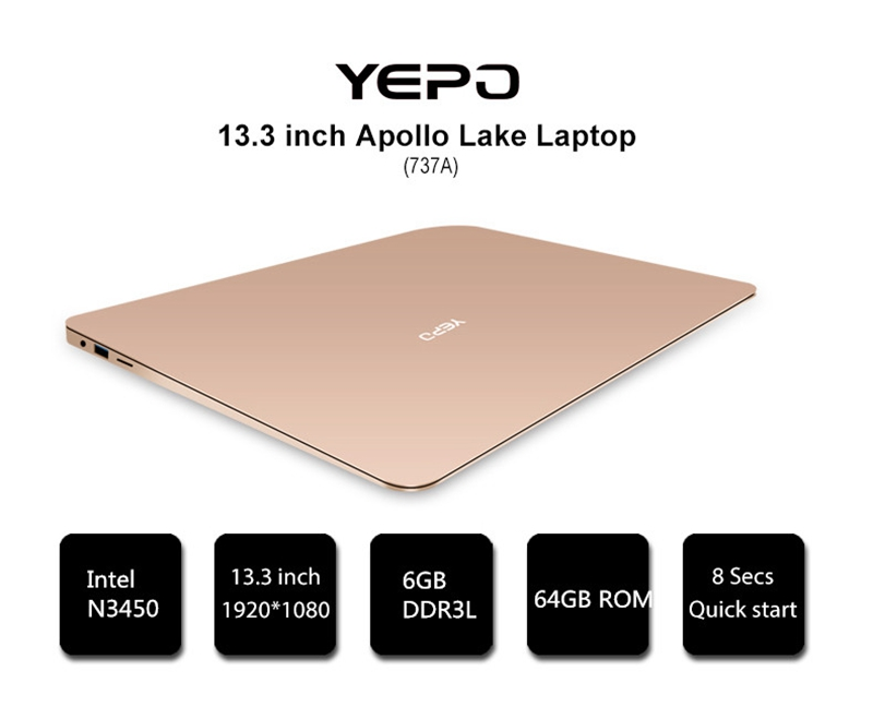YEPO 737A Laptop WIFI Bluetooth 16:9 Windows 10 USB3.0 1920x1080 Camera 13.3 Inch Intel Celeron N3450 Quad Core 6G RAM 128G