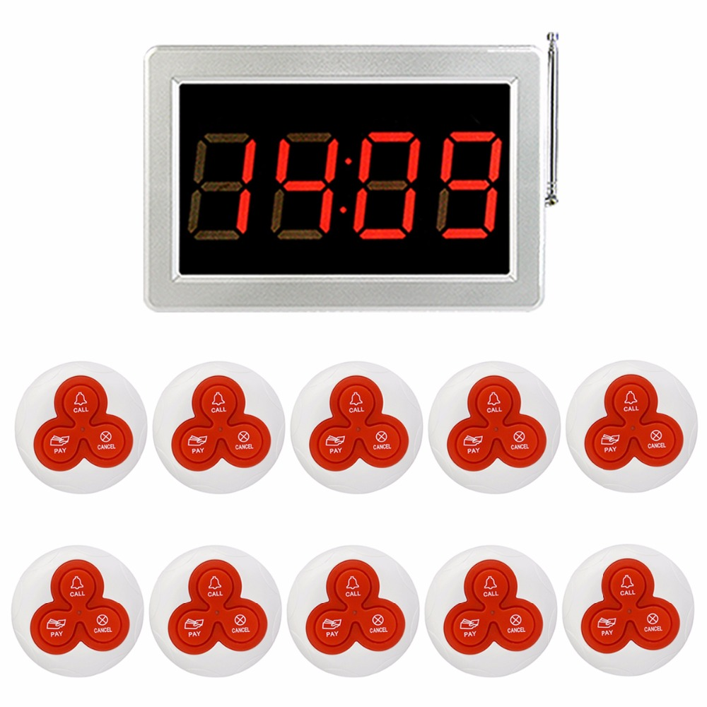 Wireless Restaurant Pagers Waiter Call Pager Calling Paging System 999 Channel Receiver Host Three-Key Button Transmitter F4413B tivdio 10 pcs wireless restaurant pager button waiter calling paging system call transmitter button pager waterproof f3227f