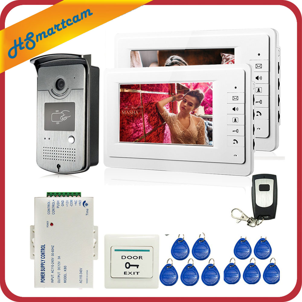 Hot New Home Security Wired 7 Video Door Phone Intercom Doorbell Entry System 2 Monitors RFID HD Camera + Remote Control diy wired 7 door intercom entry system camera video doorbell intercom electric lock kit for home security f1665
