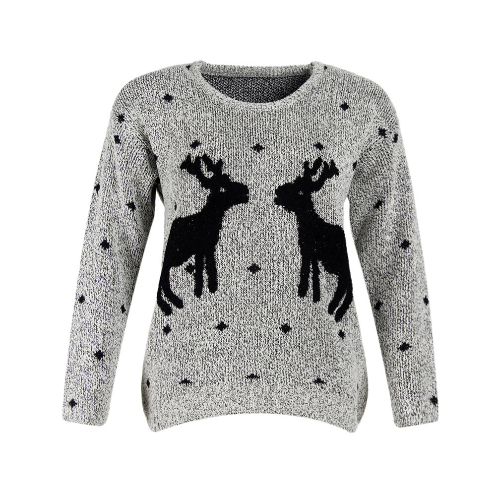 Christmas Sweater Women Grey Cute Xmas Deer Sweat snowflakes Women Fashion  Embroidery Sweaters And Pullovers-in Pullovers from Women s Clothing on ... 0599166b3