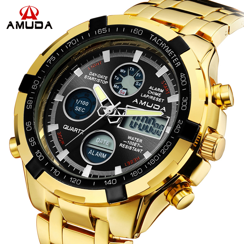 AMUDA Top Brand Men Creative Fashion Quartz Wristwatches Waterproof Chronograph Digital Sports Watches Male Relogio Masculino reset chips t5491 t5496 chip reset for epson stylus 10000 10600 pigment ink cartridges chip 6colors 5sets per lot