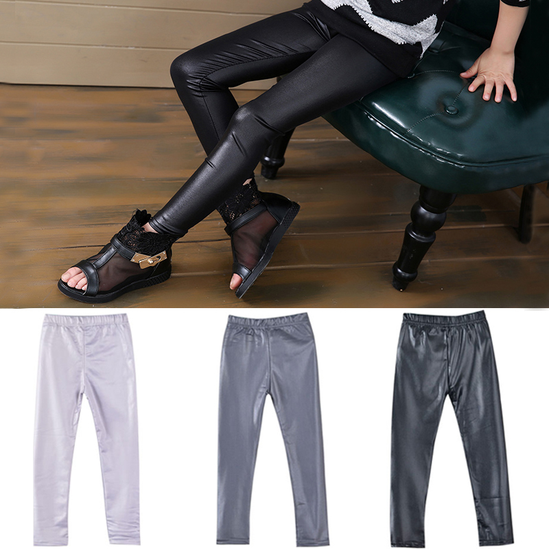 Girls Leggings Faux Leather High Quality Kids Slim Leggings Children Shinning High Elasticity Skinny Pants Trousers 4-13Yrs