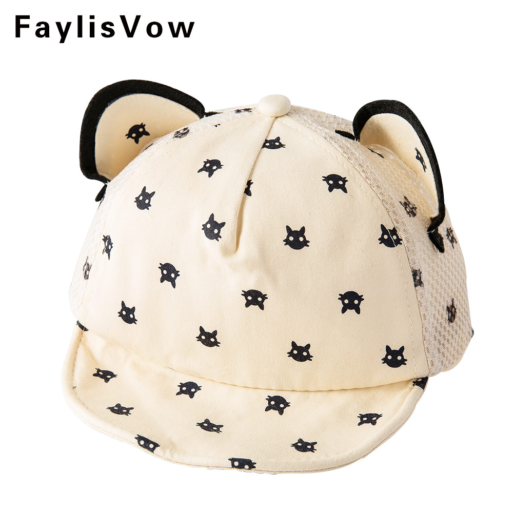 Baby Photography Accessories Spring Summer Baseball Cap Infant Unisex Visors Cat Embroidery Sun Hat Safety Helmet For Babies