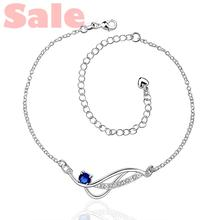 AAGA BMSA Plated Silver Anklets Fashion Jewelry CA036-D Geometry with Clear and Blue Cubic Zirconia Foot Bracelets