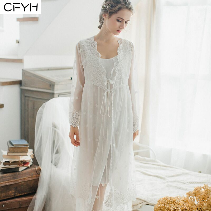 Fashion Womens Long lace Robes White Embroidery Pyjamas Princess   Nightgowns   Night-robe   Sleepshirts   Nightwear Home Wear Nightwear