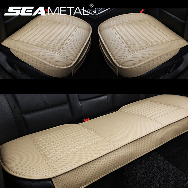 car seat cover universal bamboo charcoa pu leather front seats cushion anti slip covers car. Black Bedroom Furniture Sets. Home Design Ideas