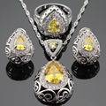 Orange Yellow White Created Topaz Silver Color Jewelry Sets For Women Hoop Earrings Necklace Pendant Rings Free Gift Box