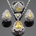 Orange amarelo branco criado topázio cor prata colar de pingente de conjuntos de jóias para as mulheres brincos de argola anéis caixa de presente livre