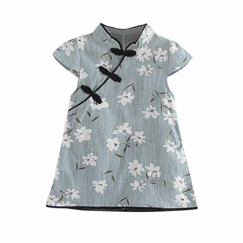 568f195cb43 Fashion Summer Baby Girl s Dresses Cheongsam Blue Chinese Traditional Style  Floral Pattern Chinese Dress
