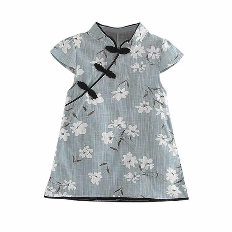 Moda Yaz Bebek Kız Elbiseler Cheongsam Mavi Çin Geleneksel Tarzı Çiçek Desen çin elbisesi